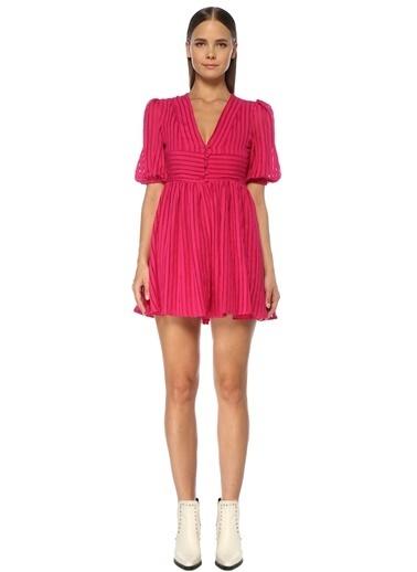 NetWork Kadın 1075394 V Yaka Çizgili Mini Elbise Fuşya